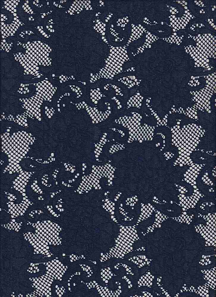 """3047-88567 / #222NAVY / Floral Vine Lace  100% Poly 100gsm 57"""""""